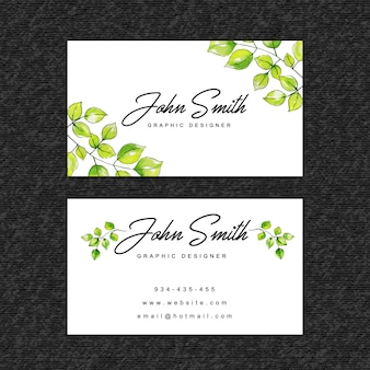 Beautiful watercolor leaves visiting card template