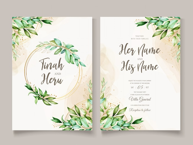 Beautiful watercolor leaves wedding card template