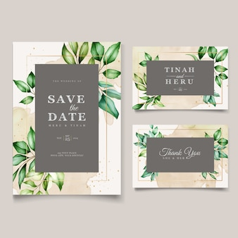 Beautiful watercolor leaves wedding card template
