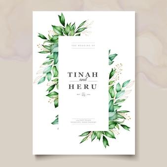Bello modello delle partecipazioni di nozze delle foglie dell'acquerello