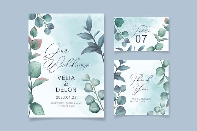 아름 다운 수채화 잎 웨딩 카드 템플릿 프리미엄 벡터