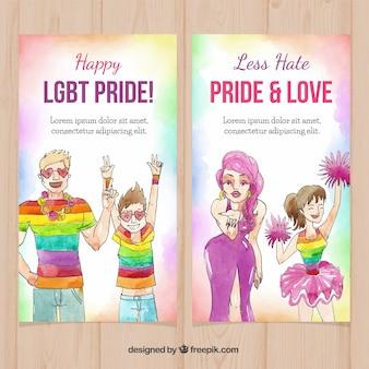 Beautiful watercolor lgbt pride banners