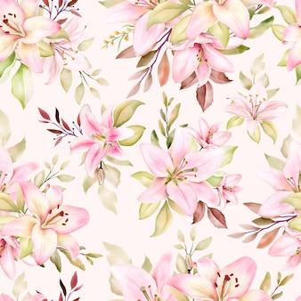 Красивая акварель лилии бесшовные модели