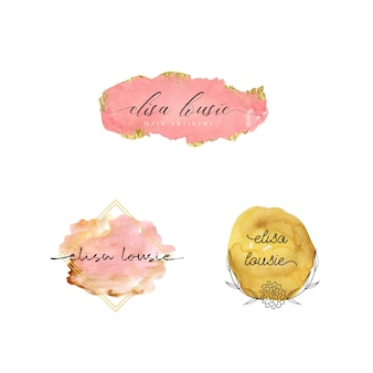 Beautiful watercolor logo template