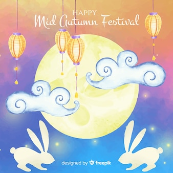 Beautiful watercolor mid autumn festival background
