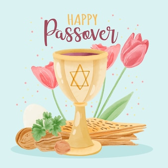 Beautiful watercolor passover concept