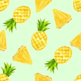 Beautiful watercolor pineapple summer seamless pattern