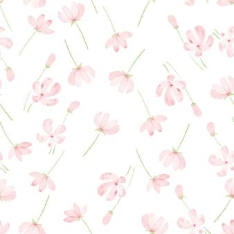 美しい水彩ピンクコスモスのシームレスパターン