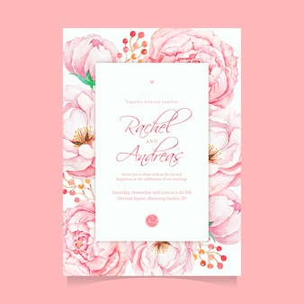 Beautiful watercolor pink flower wedding invitation template