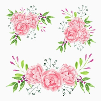 Beautiful watercolor pink peony flower bouquet collection