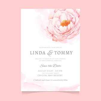 Beautiful watercolor pink peony flower wedding invitation template