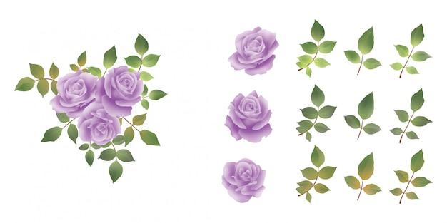 Beautiful watercolor purple rose bouquet