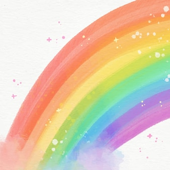 Beautiful watercolor rainbow illustrated