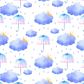 Beautiful watercolor rainy pattern with clouds and umbrellas