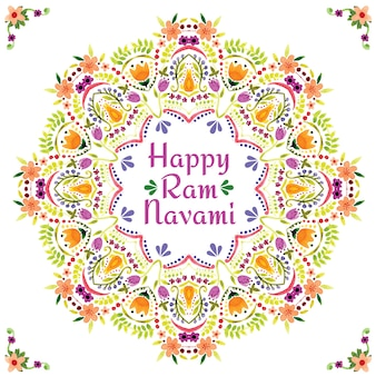 Beautiful watercolor ram navami floral greeting