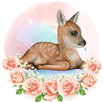 ロマンチックな花の花輪の美しい水彩画のリアルな子鹿