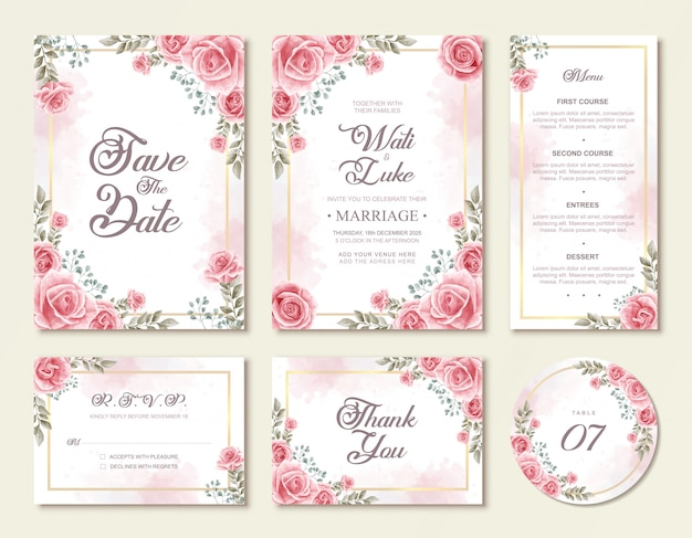 Beautiful watercolor rose flowers floral wedding invitation set template