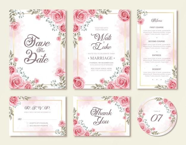 美しい水彩バラの花の結婚式の招待状セットテンプレート
