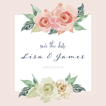 Beautiful watercolor rose painting card invitation template