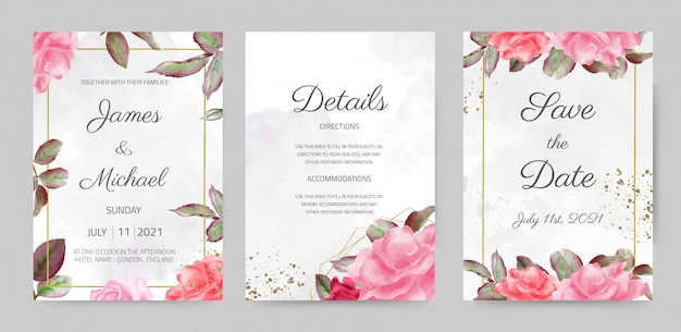 Beautiful watercolor rose wedding invitation card rose leaf template set