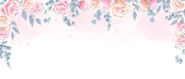 Beautiful watercolor roses background for wallpaper, wedding backdrop and any printing.