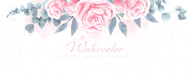 Beautiful watercolor roses background for wallpaper