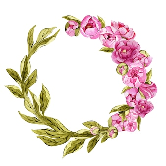 Beautiful watercolor round floral wreath with peonies