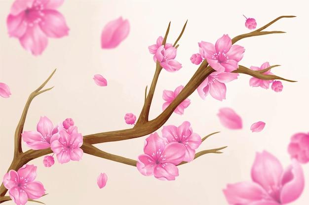 아름 다운 수채화 사쿠라 꽃 그림
