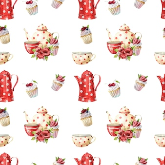 Beautiful watercolor seamless pattern with teapots, cups and cupcakes