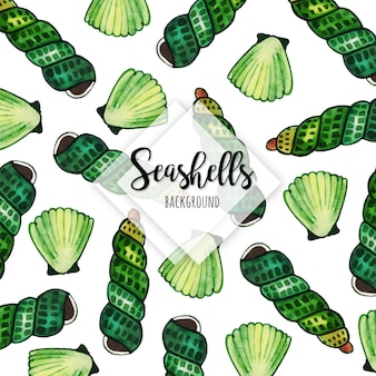 Beautiful Watercolor Seashells Background