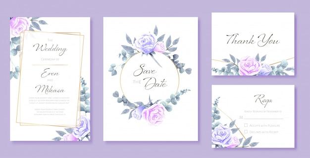 結婚式カードテンプレートの美しい水彩セット。バラと野生の葉で飾られています。