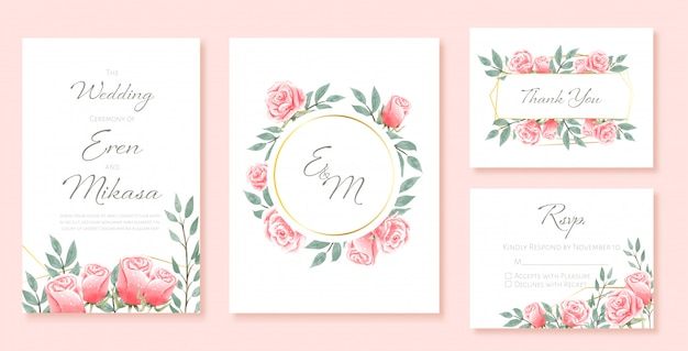 結婚式カードテンプレートの美しい水彩セット。バラで飾られました。