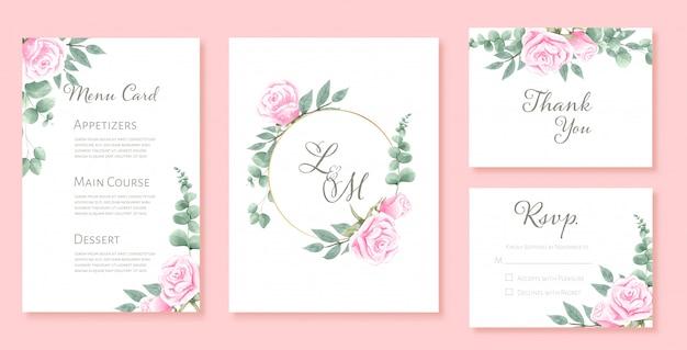 Beautiful watercolor set of wedding card templates
