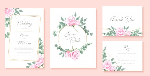 Beautiful watercolor set of wedding card templates
