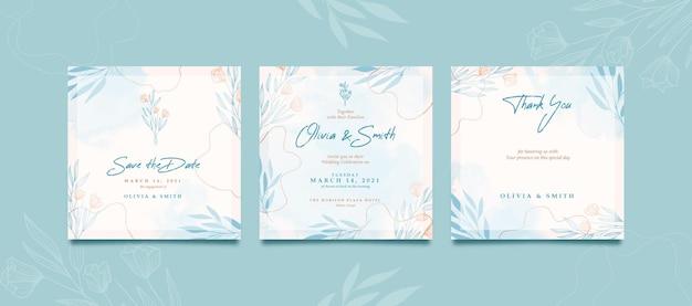 결혼식을위한 아름다운 수채화 소셜 미디어 게시물