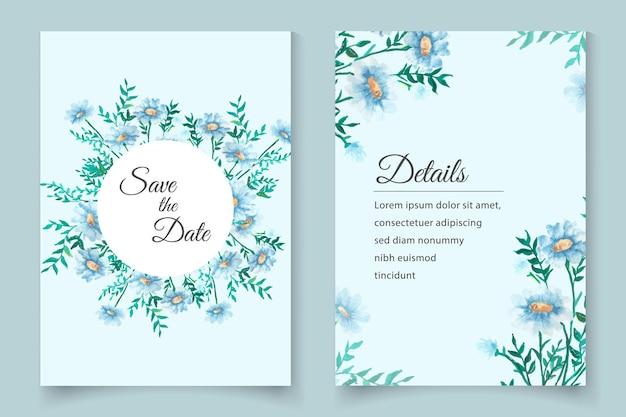 아름 다운 수채화 부드러운 꽃 결혼식 초대 카드 템플릿