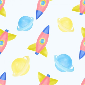 Beautiful watercolor space ship rocket seamles pattern