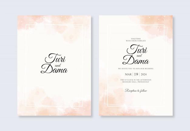 結婚式の招待状のテンプレートの美しい水彩画スプラッシュ