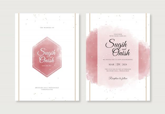 結婚式の招待カードテンプレートの美しい水彩画はね