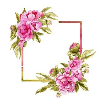ピンクの牡丹の花と美しい水彩画の正方形のフレーム