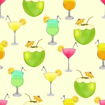 Beautiful watercolor summer drink party seamless pattern