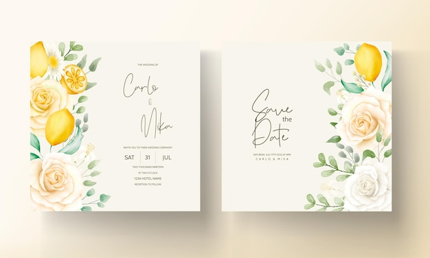 美しい水彩画の夏の花の葉の結婚式の招待状のテンプレート