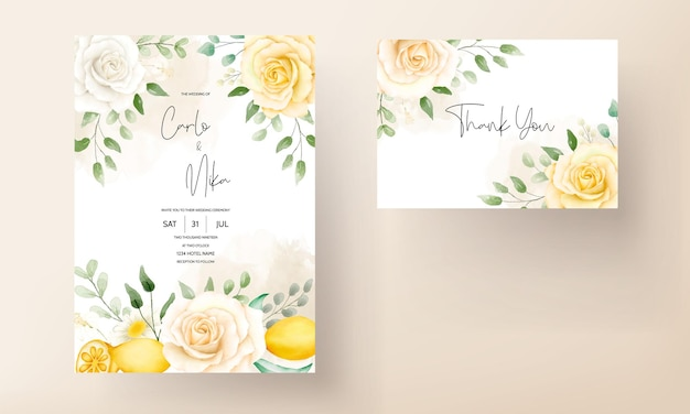 Bellissimo modello di biglietto d'invito per matrimonio con foglie floreali estive ad acquerello