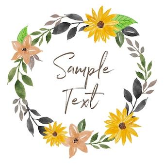 Beautiful watercolor sun flower wreath illustration