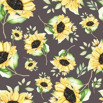 Beautiful watercolor sunflower seamless pattern