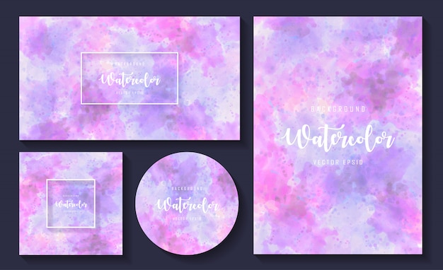 Beautiful watercolor texture background template set
