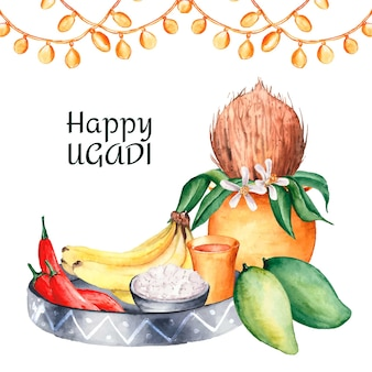 Beautiful watercolor ugadi