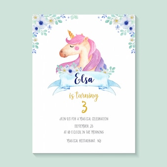 Beautiful watercolor unicorn invitation with flowers, cute and girlie unicorn birthday invitation design.