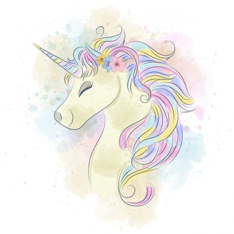 Beautiful watercolor unicorn.