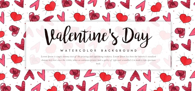 Beautiful watercolor valentine banner